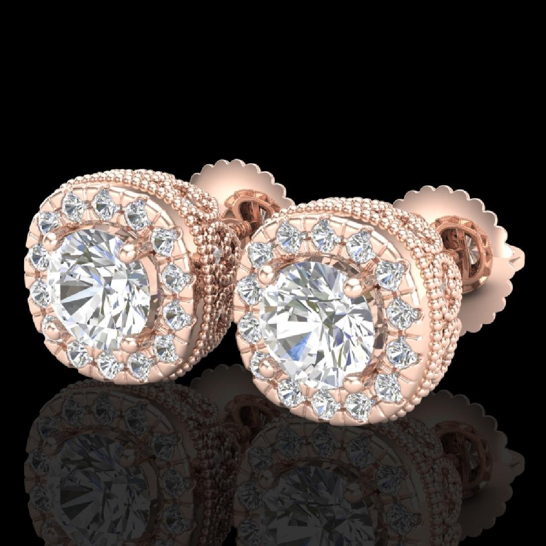 1.69 CTW VS/SI Diamond Solitaire Art Deco Stud Earrings