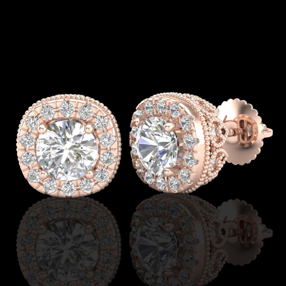 1.69 CTW VS/SI Diamond Solitaire Art Deco Stud Earrings - 2