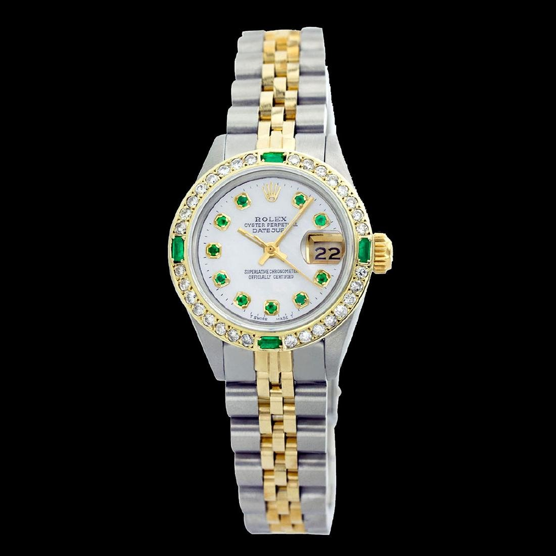 Rolex Ladies Two Tone 14K Gold/SS, Diam/Emerald Dial & - 2