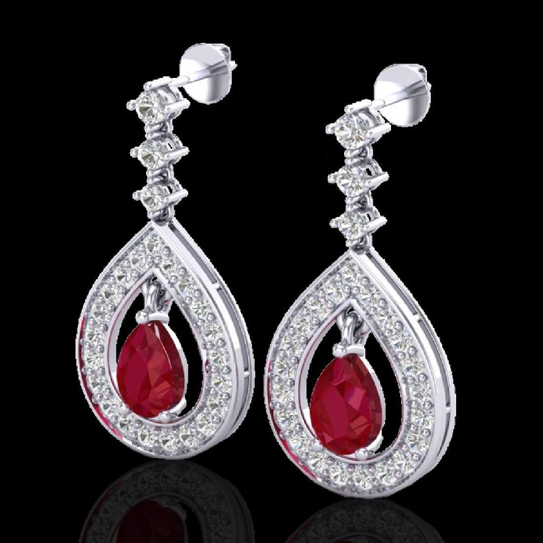 2.25 CTW Ruby & Micro Pave VS/SI Diamond Earrings