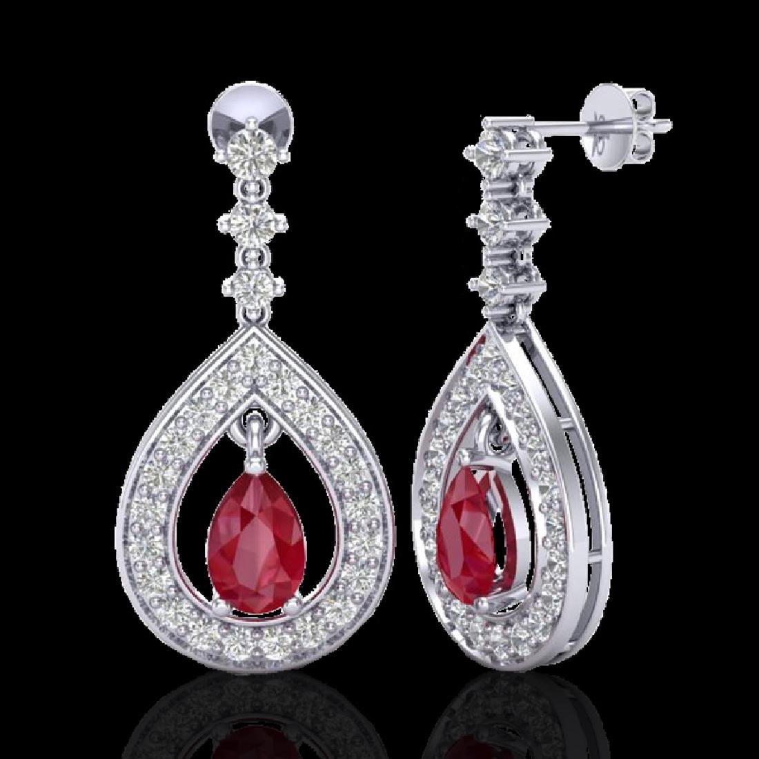 2.25 CTW Ruby & Micro Pave VS/SI Diamond Earrings - 2