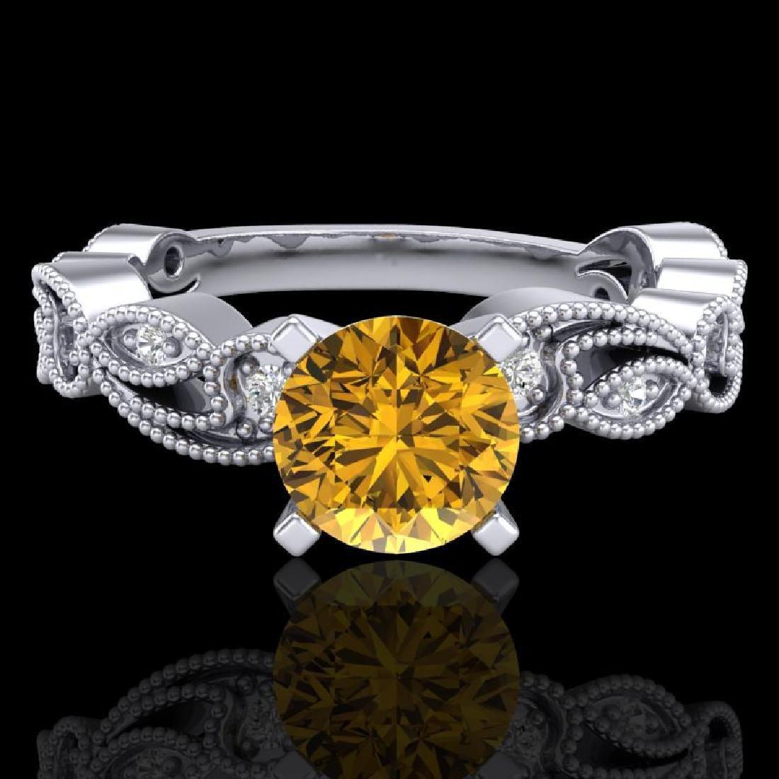 1.01 CTW Intense Fancy Yellow Diamond Engagement Art - 2