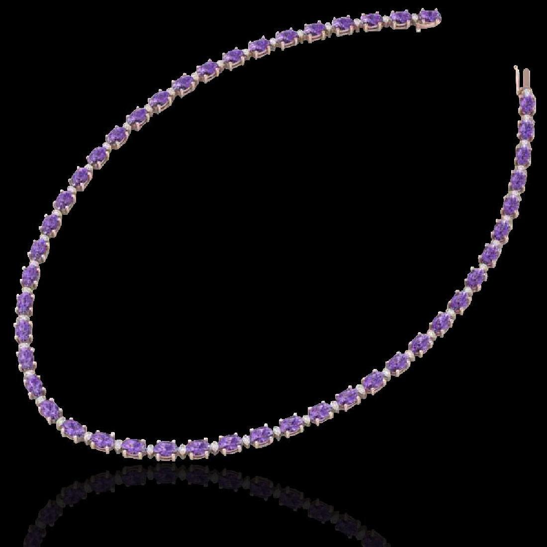 61.85 CTW Amethyst & VS/SI Certified Diamond Eternity - 2