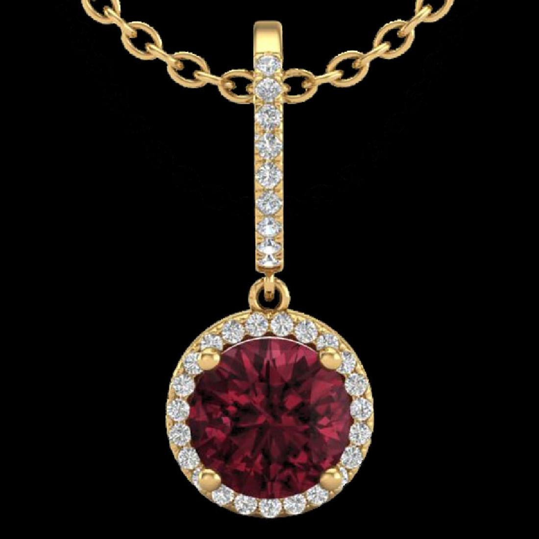 2.75 CTW Garnet & Micro Pave VS/SI Diamond Necklace - 2