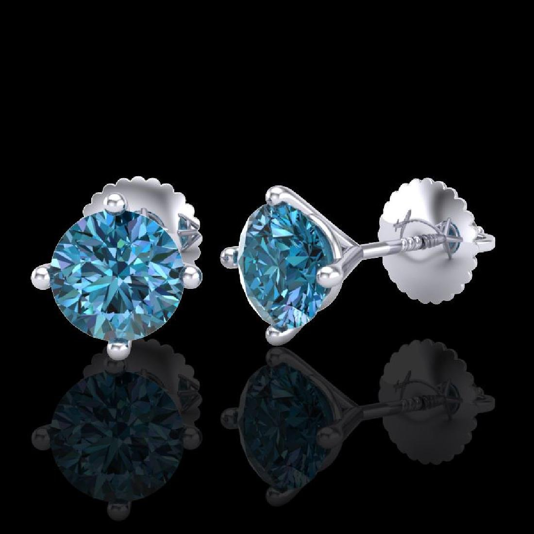 1.5 CTW Fancy Intense Blue Diamond Art Deco Stud - 2