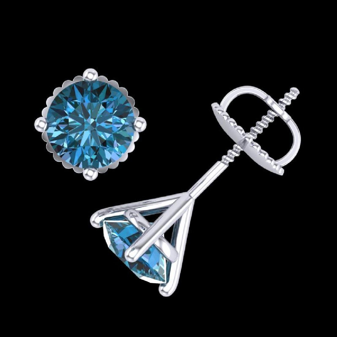 1.5 CTW Fancy Intense Blue Diamond Art Deco Stud - 3
