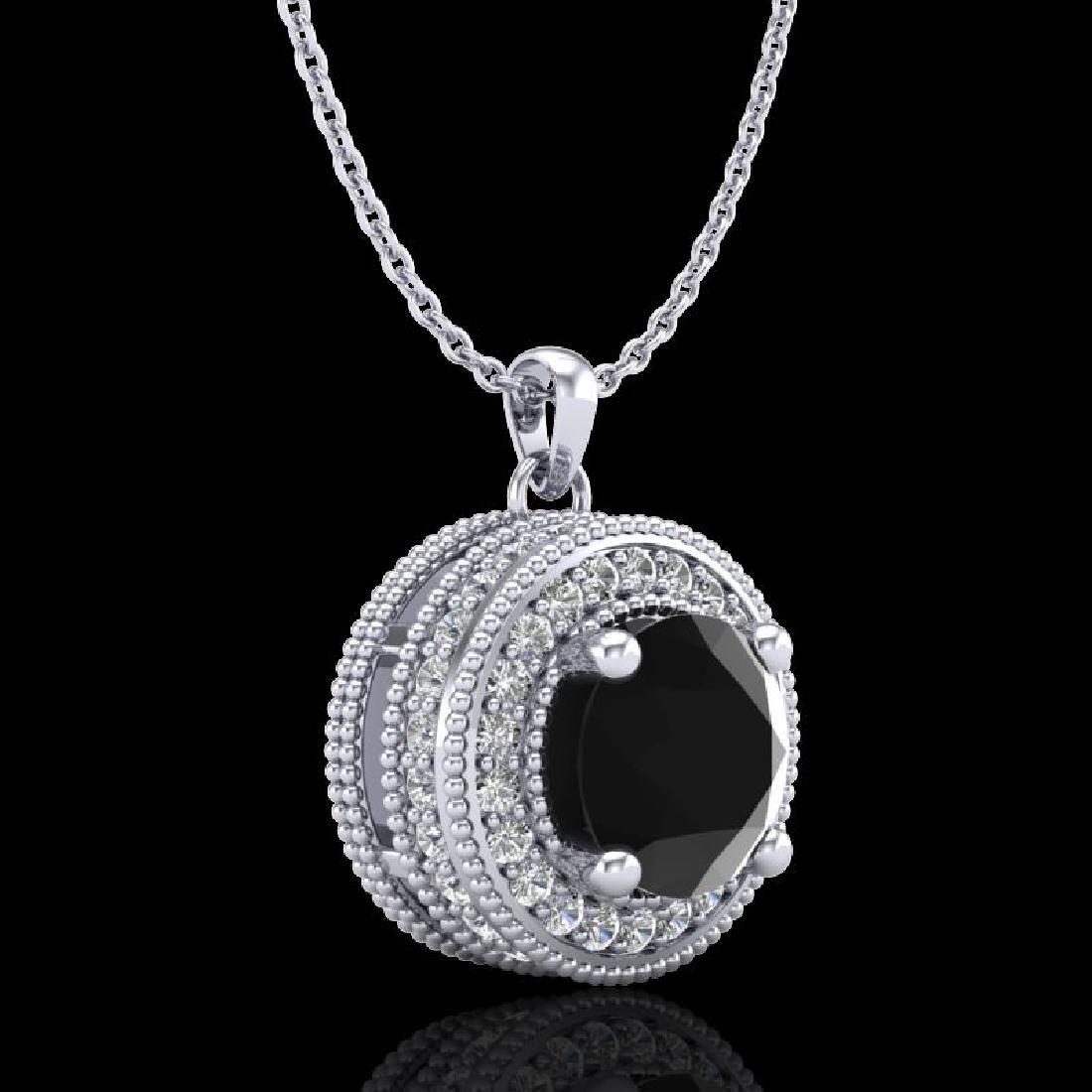 1.25 CTW Fancy Black Diamond Solitaire Art Deco Stud - 3