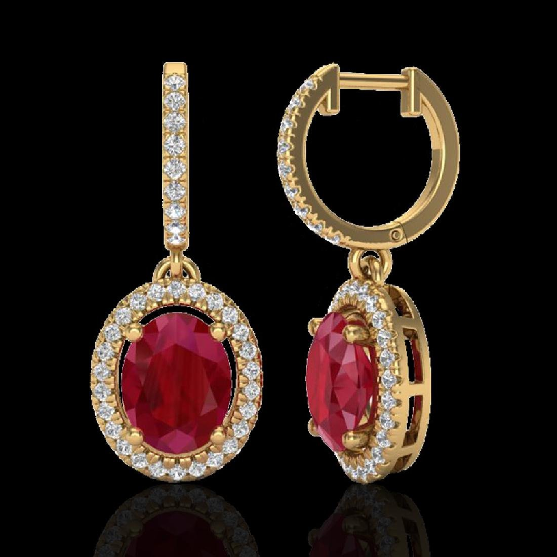 4.25 CTW Ruby & Micro Pave VS/SI Diamond Earrings - 2