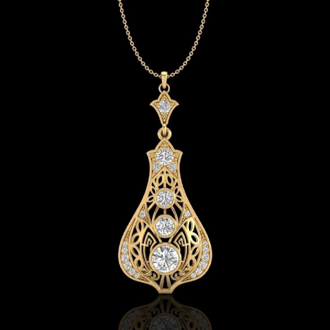 1.75 CTW VS/SI Diamond Art Deco Stud Necklace 18K
