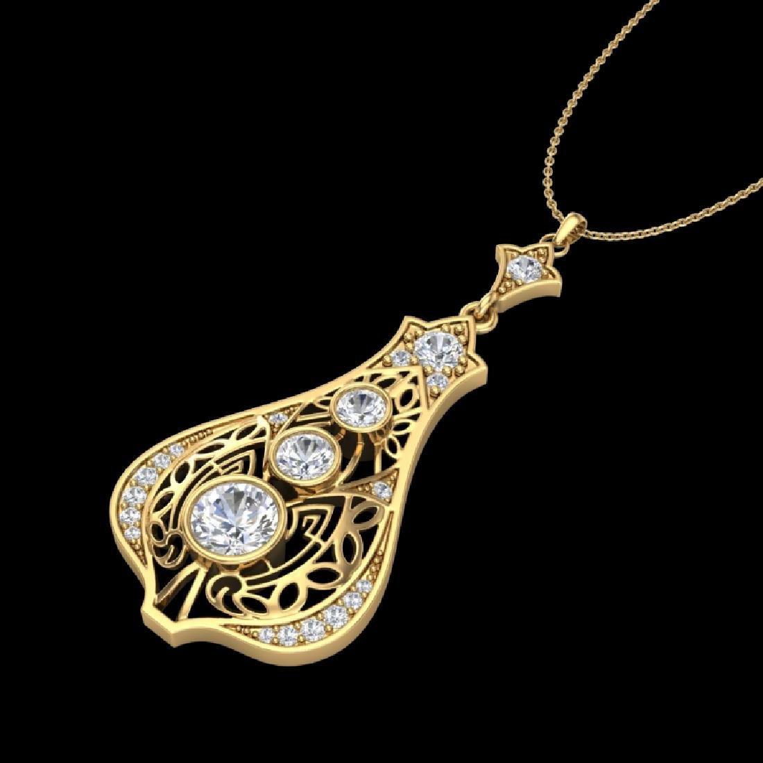 1.75 CTW VS/SI Diamond Art Deco Stud Necklace 18K - 2