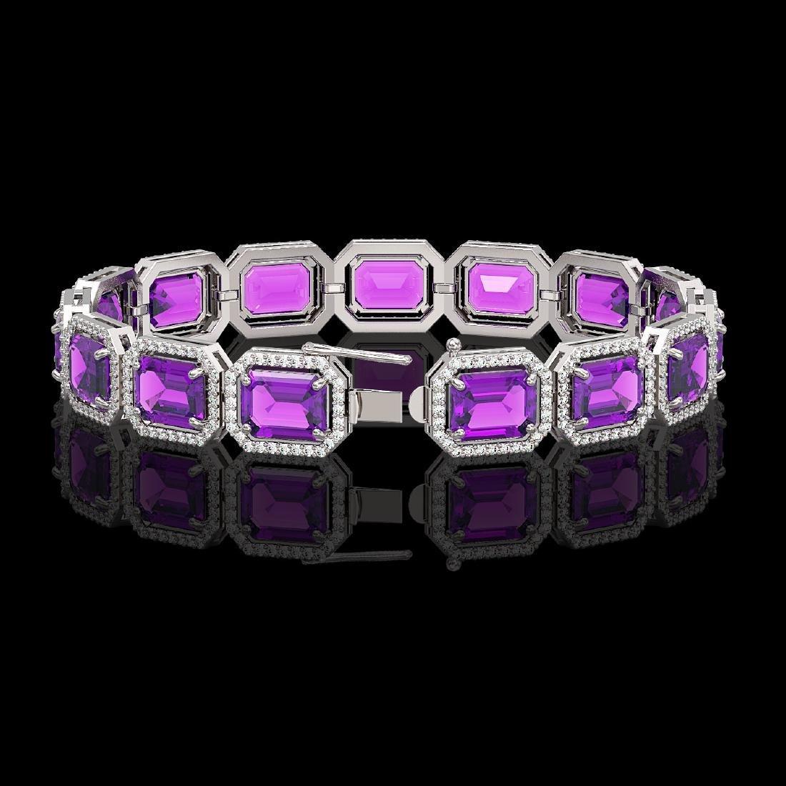 34.86 CTW Amethyst & Diamond Halo Bracelet 10K White - 2