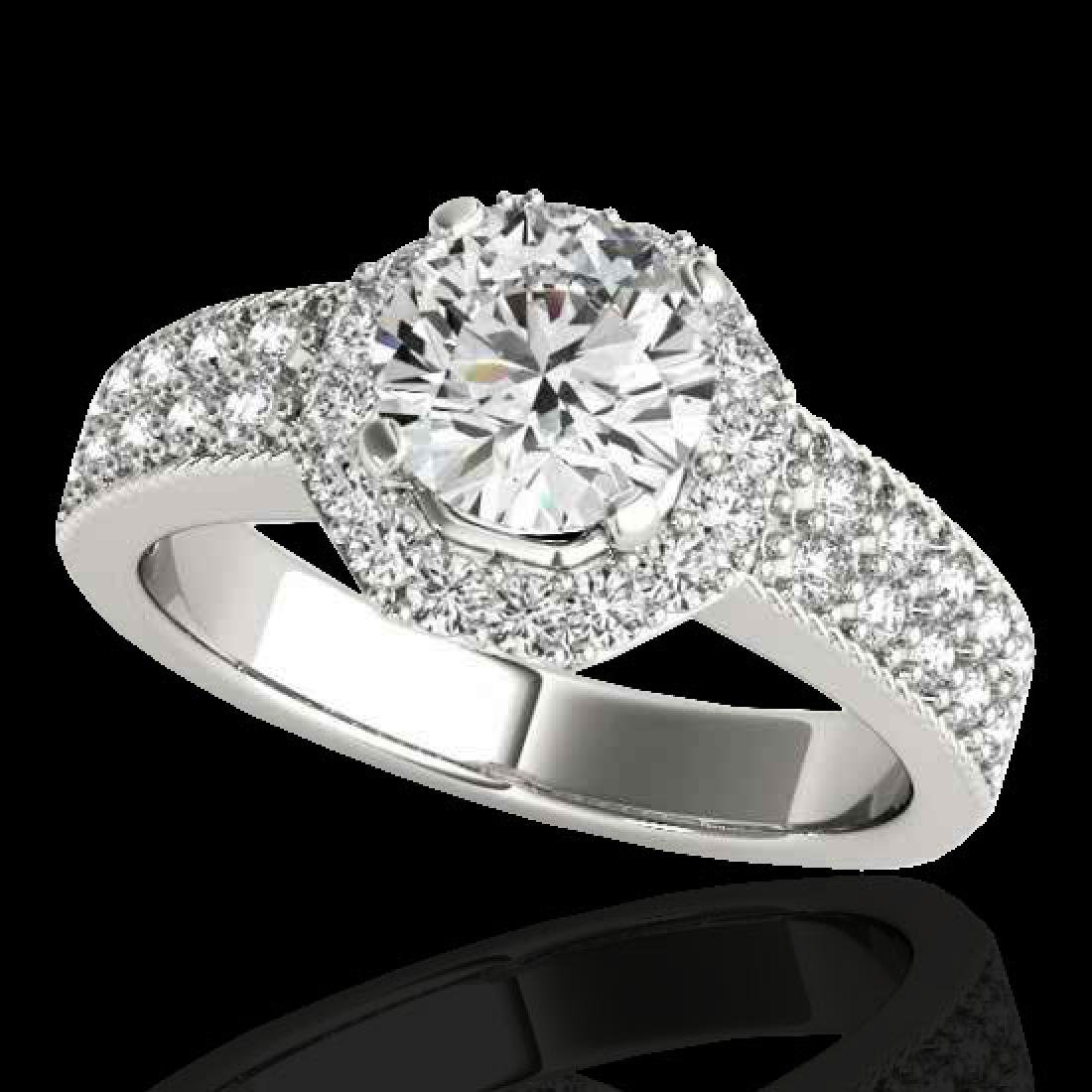 1.4 CTW H-SI/I Certified Diamond Solitaire Halo Ring