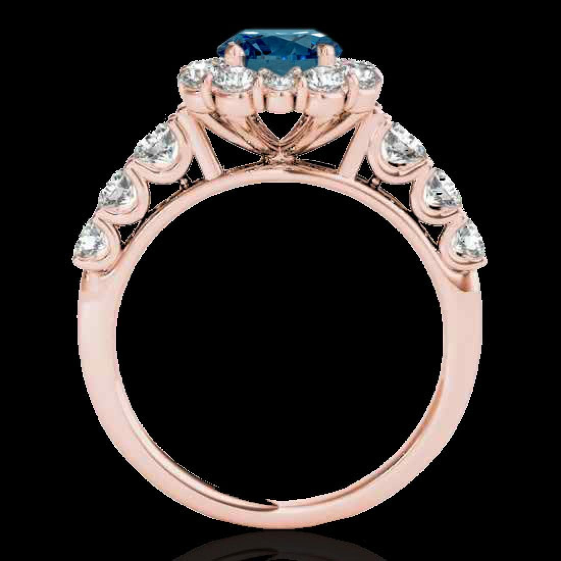 2.25 CTW SI Certified Fancy Blue Diamond Solitaire Halo - 2