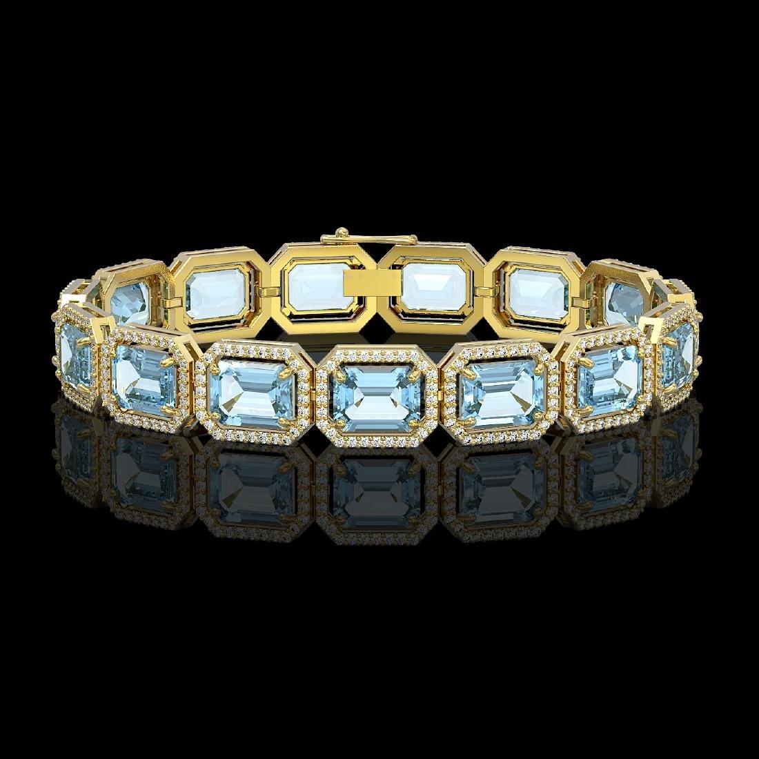 36.81 CTW Aquamarine & Diamond Halo Bracelet 10K Yellow