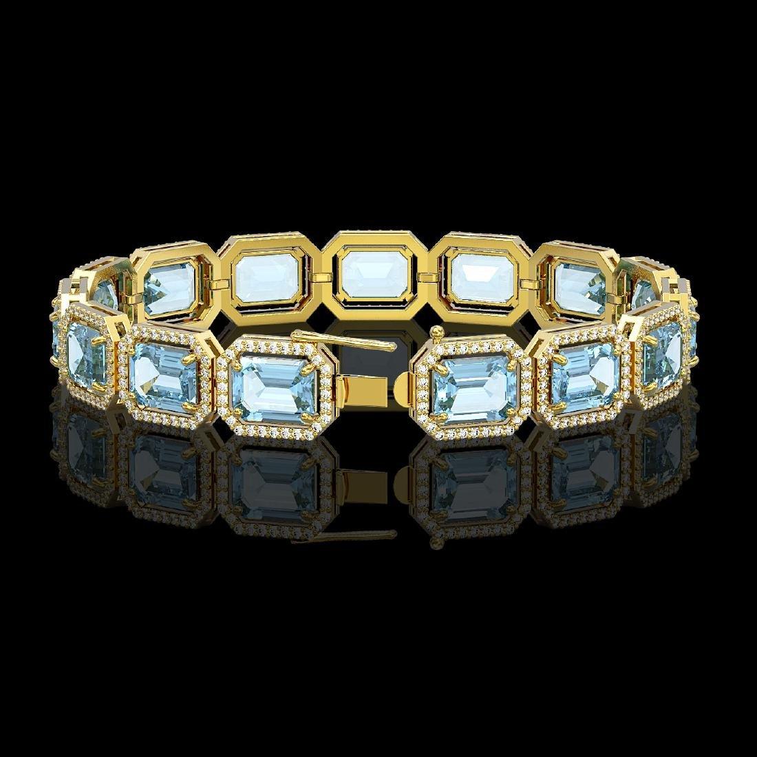 36.81 CTW Aquamarine & Diamond Halo Bracelet 10K Yellow - 2