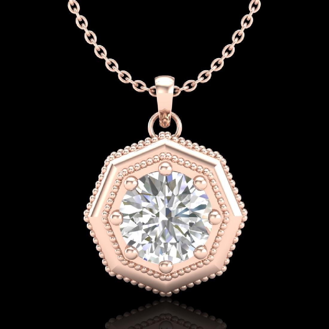 0.75 CTW VS/SI Diamond Solitaire Art Deco Stud Necklace