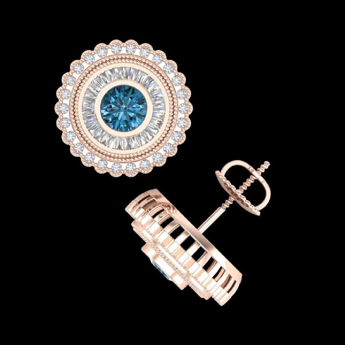 2.61 CTW Fancy Intense Blue Diamond Art Deco Stud - 3