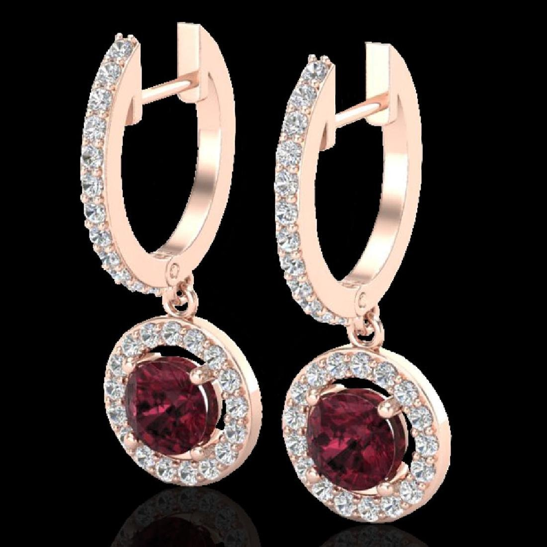 1.75 CTW Garnet & Micro Halo VS/SI Diamond Earrings 14K