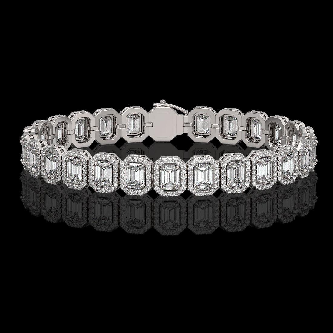 17.28 CTW Emerald Cut Diamond Designer Bracelet 18K