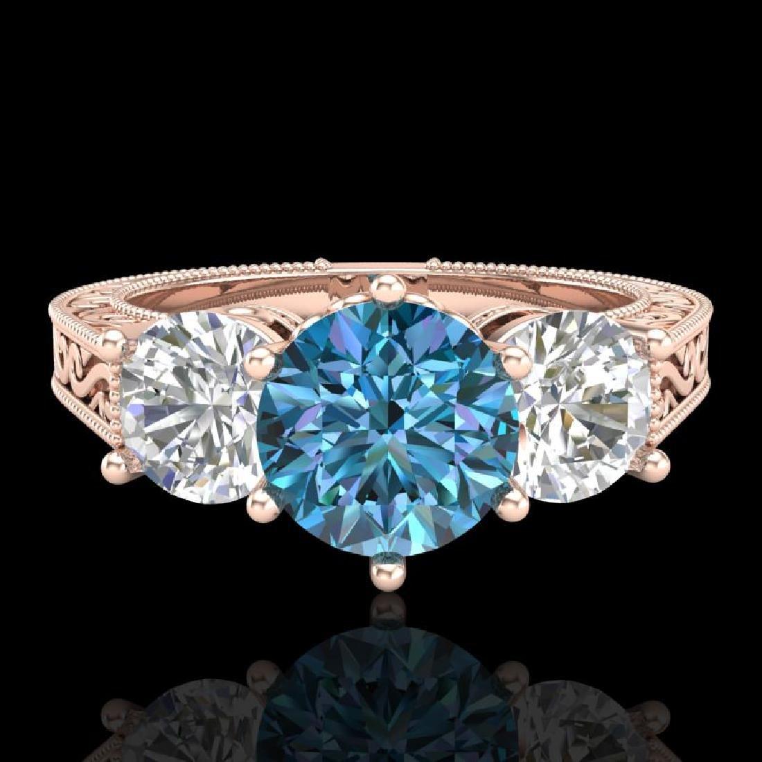 2.01 CTW Fancy Intense Blue Diamond Art Deco 3 Stone - 2