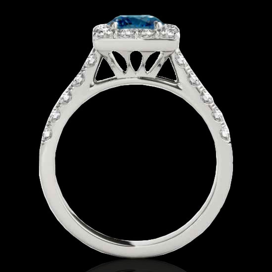 2 CTW SI Certified Blue Diamond Solitaire Halo Ring 10K - 2