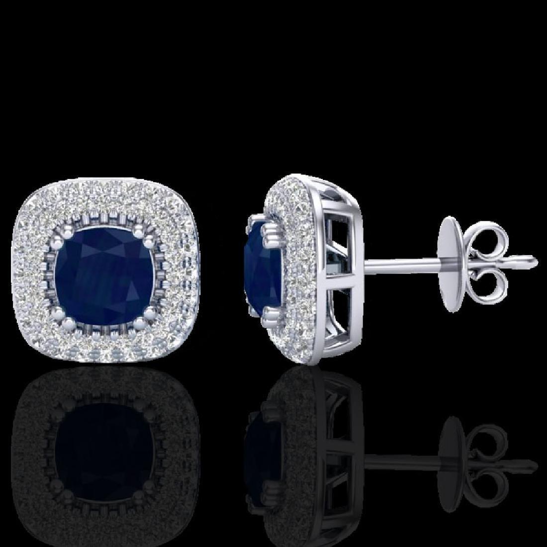 2.16 CTW Sapphire & Micro VS/SI Diamond Earrings Double - 2