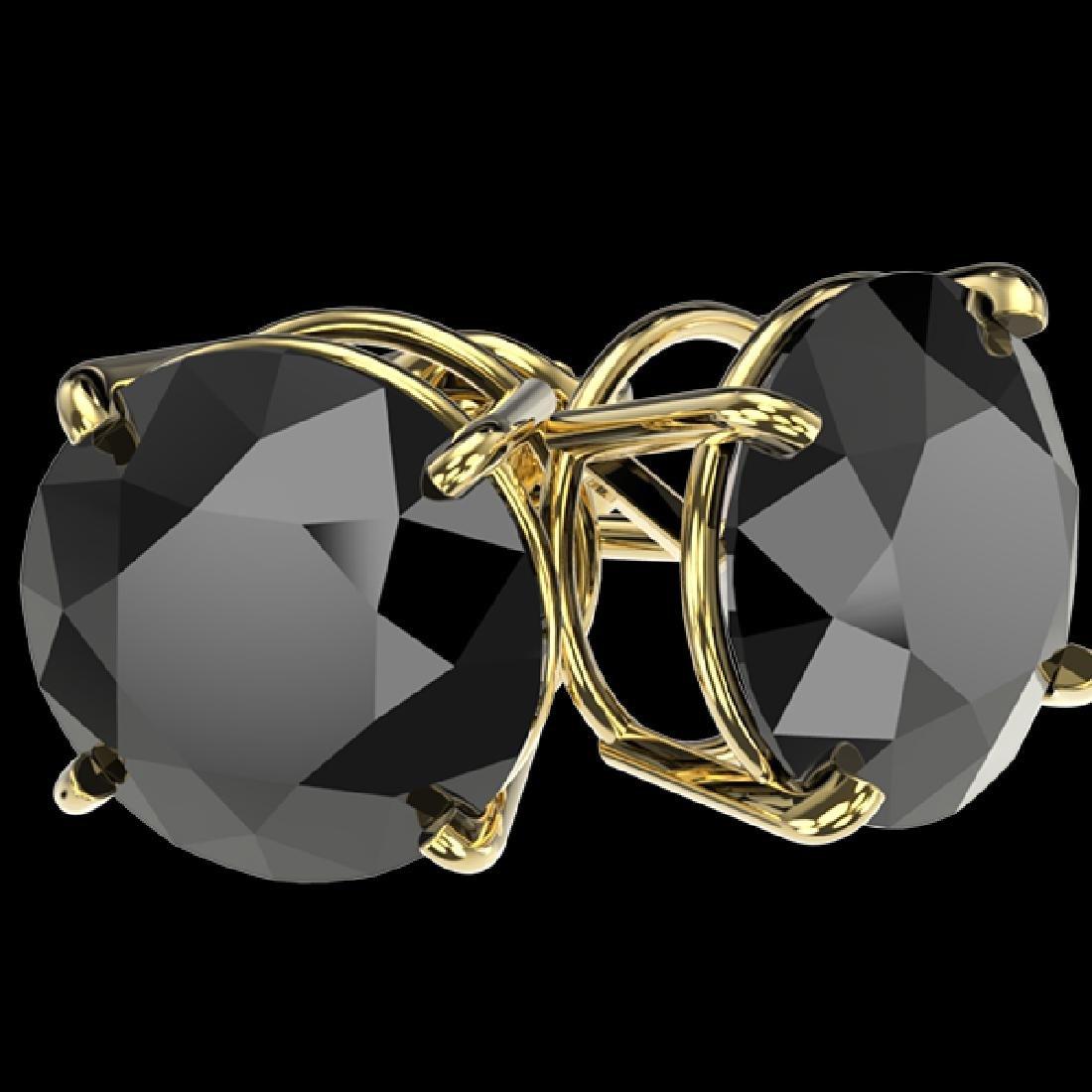 5 CTW Fancy Black VS Diamond Solitaire Stud Earrings - 3