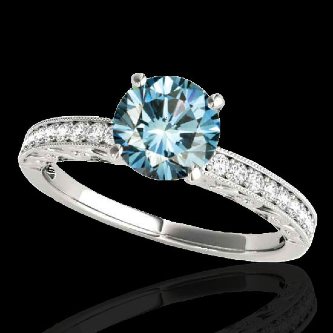 1.43 CTW SI Certified Blue Diamond Solitaire Antique