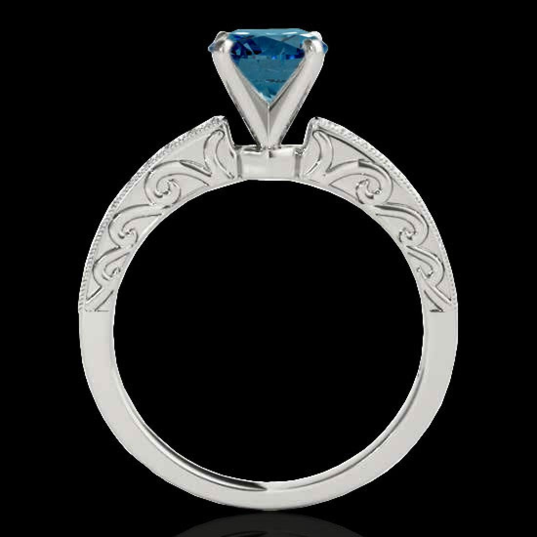 1.43 CTW SI Certified Blue Diamond Solitaire Antique - 2