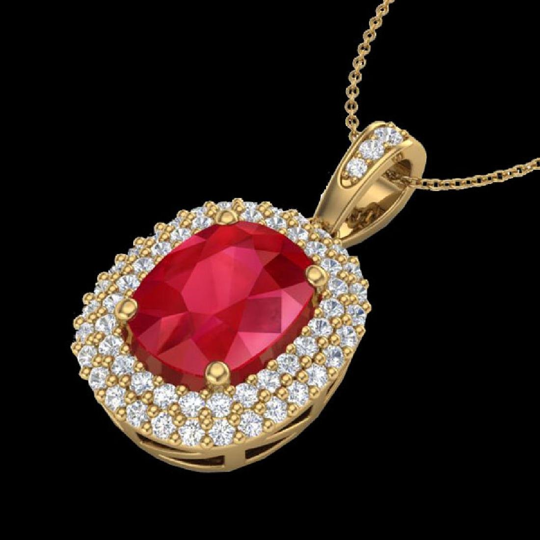 3.15 CTW Ruby & Micro Pave VS/SI Diamond Halo Necklace - 2