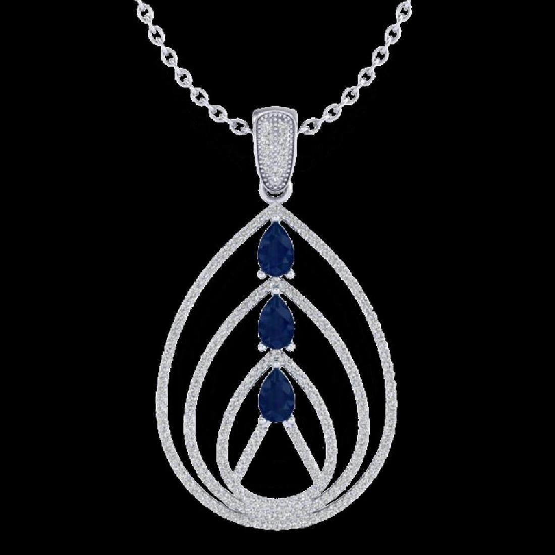 2 CTW Sapphire & Micro Pave VS/SI Diamond Designer - 2