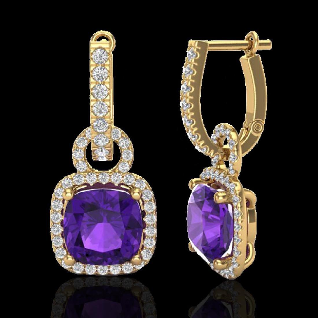 7 CTW Amethyst & Micro Pave VS/SI Diamond Earrings 18K - 2