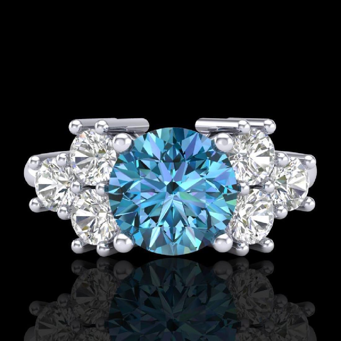 2.1 CTW Intense Blue Diamond Solitaire Engagement - 2