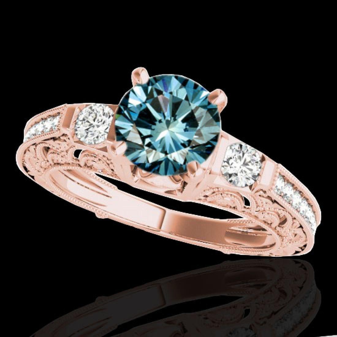 1.38 CTW SI Certified Blue Diamond Solitaire Antique