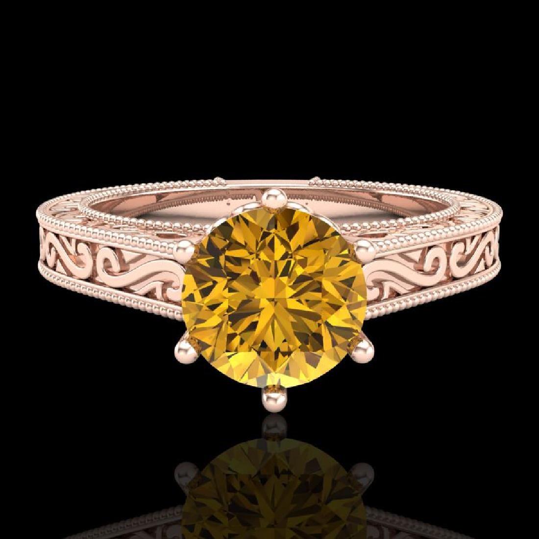 1 CTW Intense Fancy Yellow Diamond Engagement Art Deco - 2