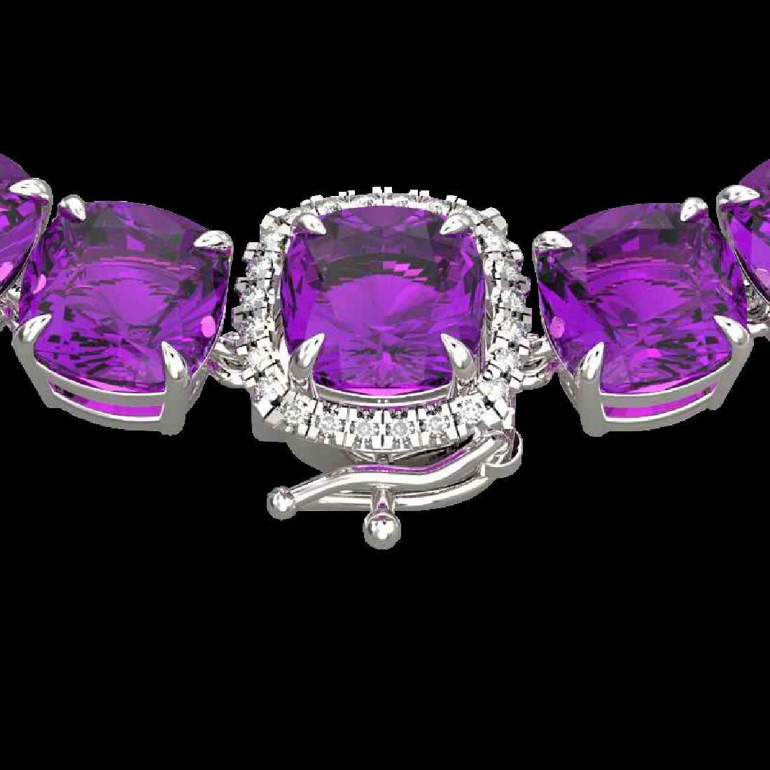 116 CTW Amethyst & VS/SI Diamond Halo Micro Necklace