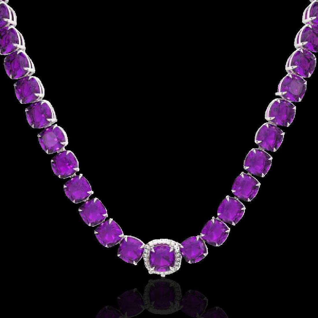 116 CTW Amethyst & VS/SI Diamond Halo Micro Necklace - 2