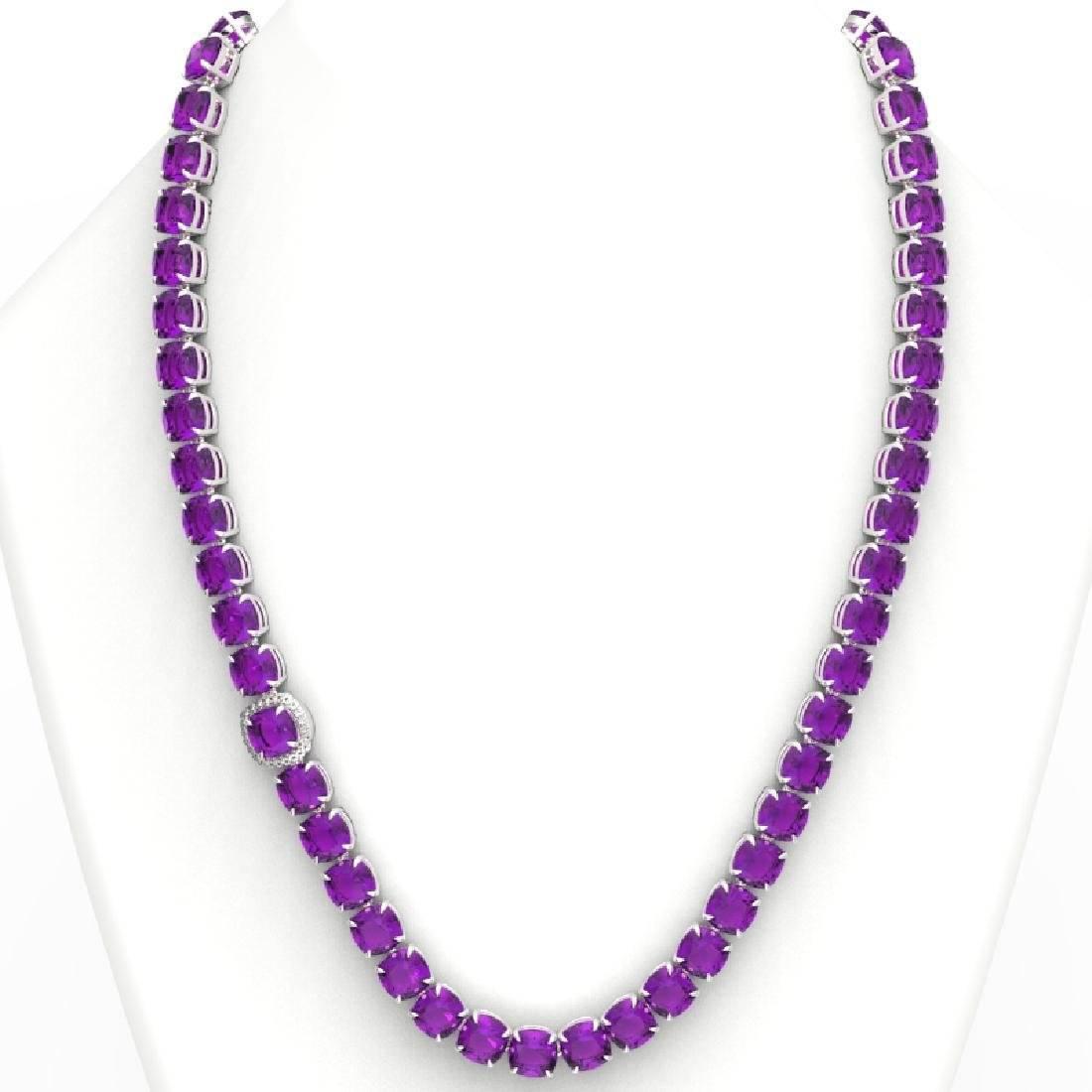 116 CTW Amethyst & VS/SI Diamond Halo Micro Necklace - 3