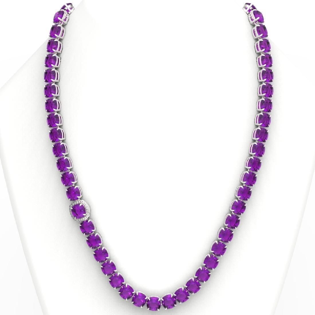 116 CTW Amethyst & VS/SI Diamond Halo Micro Necklace - 3