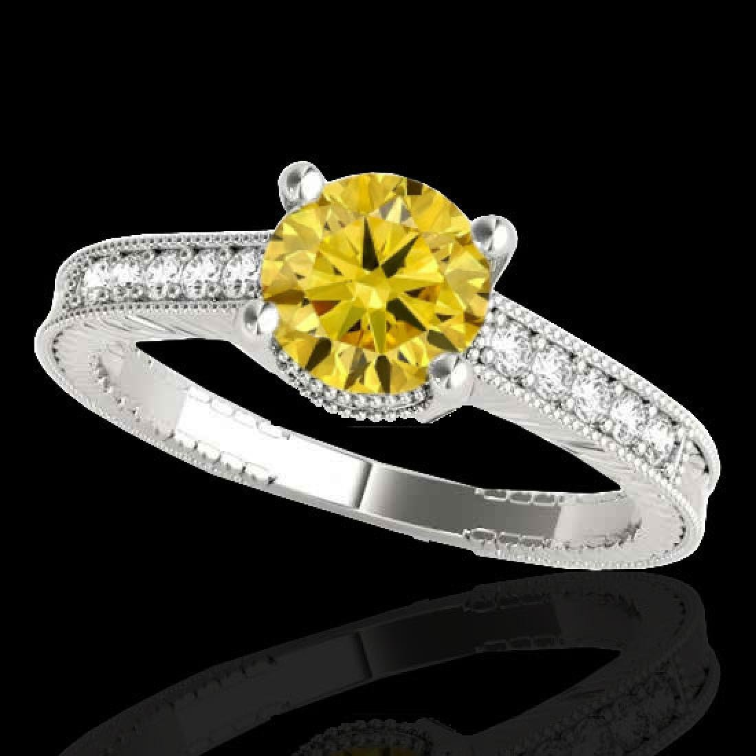 1.75 CTW Certified Si Intense Yellow Diamond Solitaire - 2