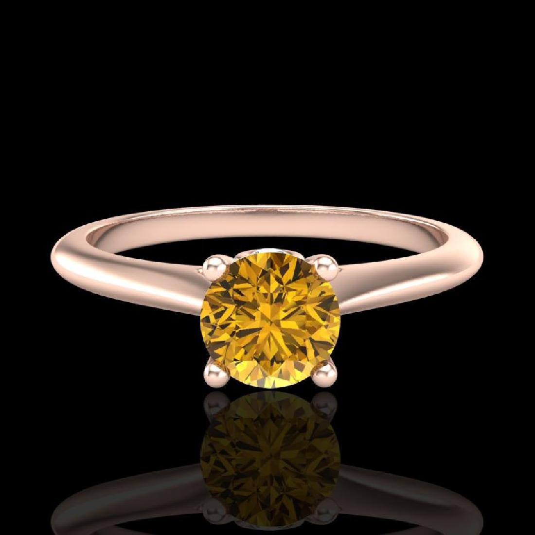 0.56 CTW Intense Fancy Yellow Diamond Engagement Art - 2