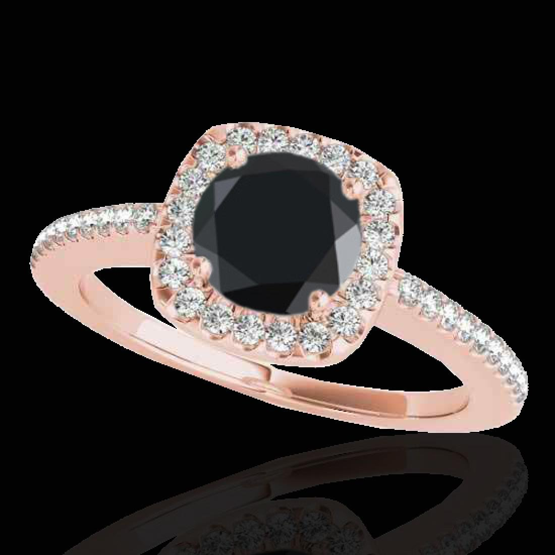 1.25 CTW Certified VS Black Diamond Solitaire Halo Ring