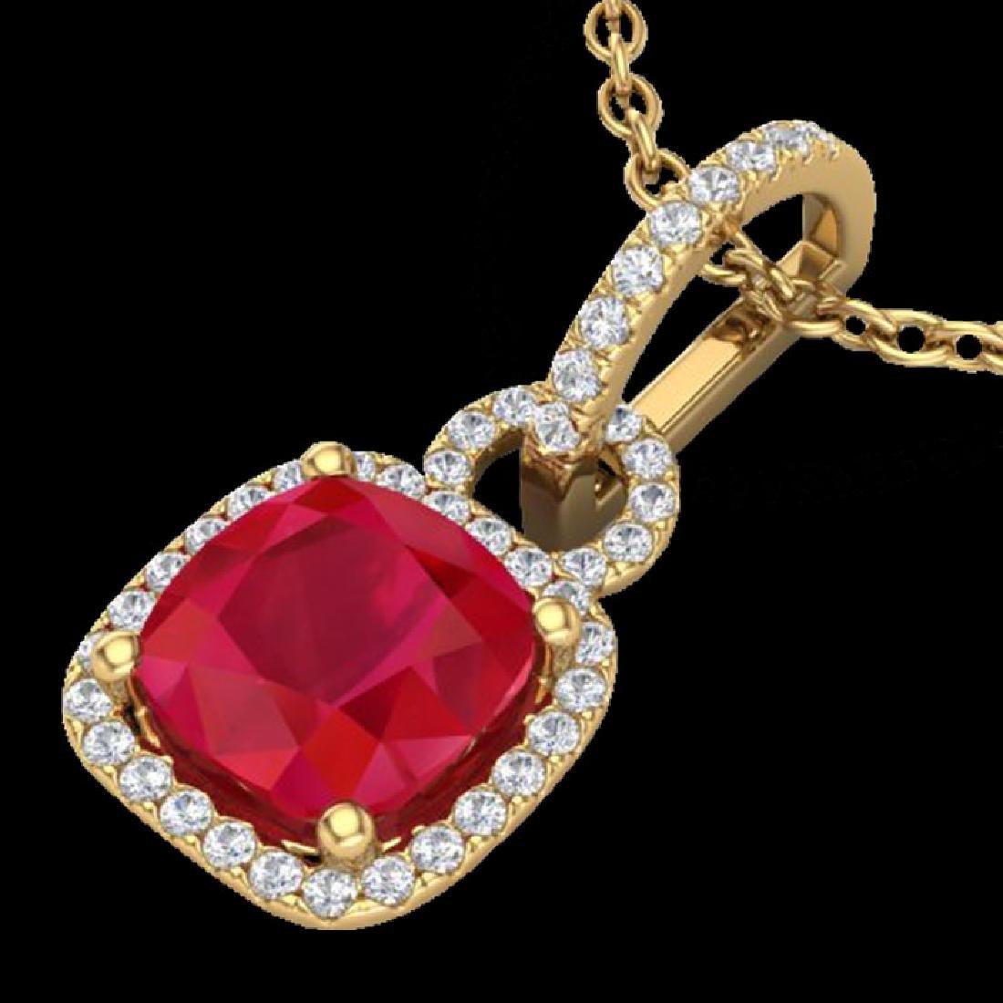3 CTW Ruby & Micro VS/SI Diamond Necklace 18K Yellow