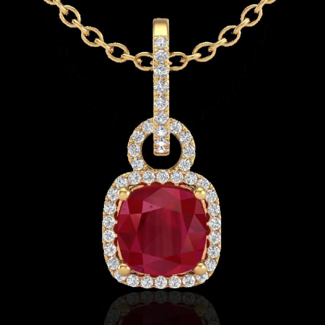 3 CTW Ruby & Micro VS/SI Diamond Necklace 18K Yellow - 2