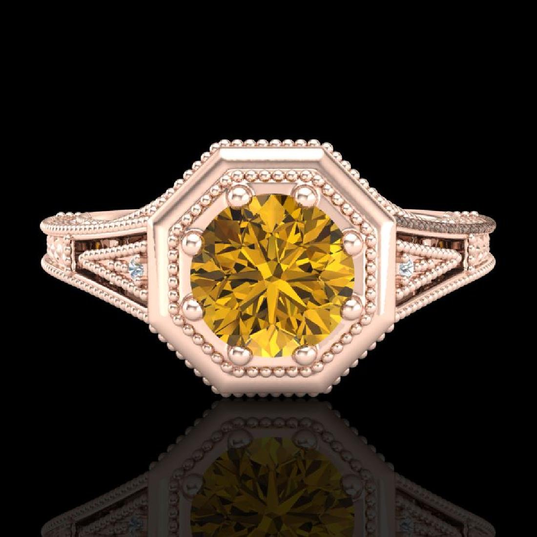 0.84 CTW Intense Fancy Yellow Diamond Engagement Art - 2