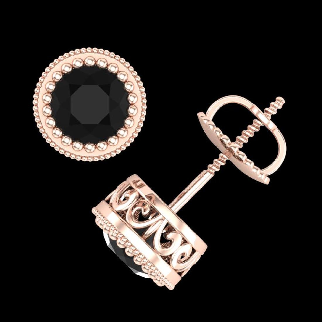1.09 CTW Fancy Black Diamond Solitaire Art Deco Stud - 3