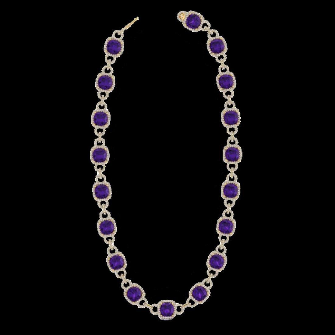 66 CTW Amethyst & Micro VS/SI Diamond Eternity Necklace - 2