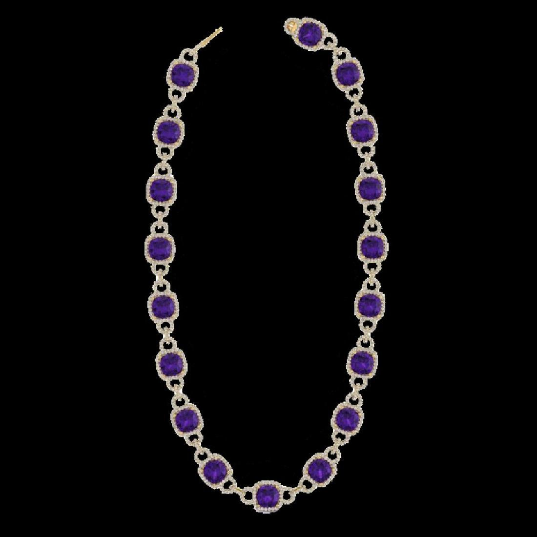66 CTW Amethyst & Micro VS/SI Diamond Eternity Necklace - 2