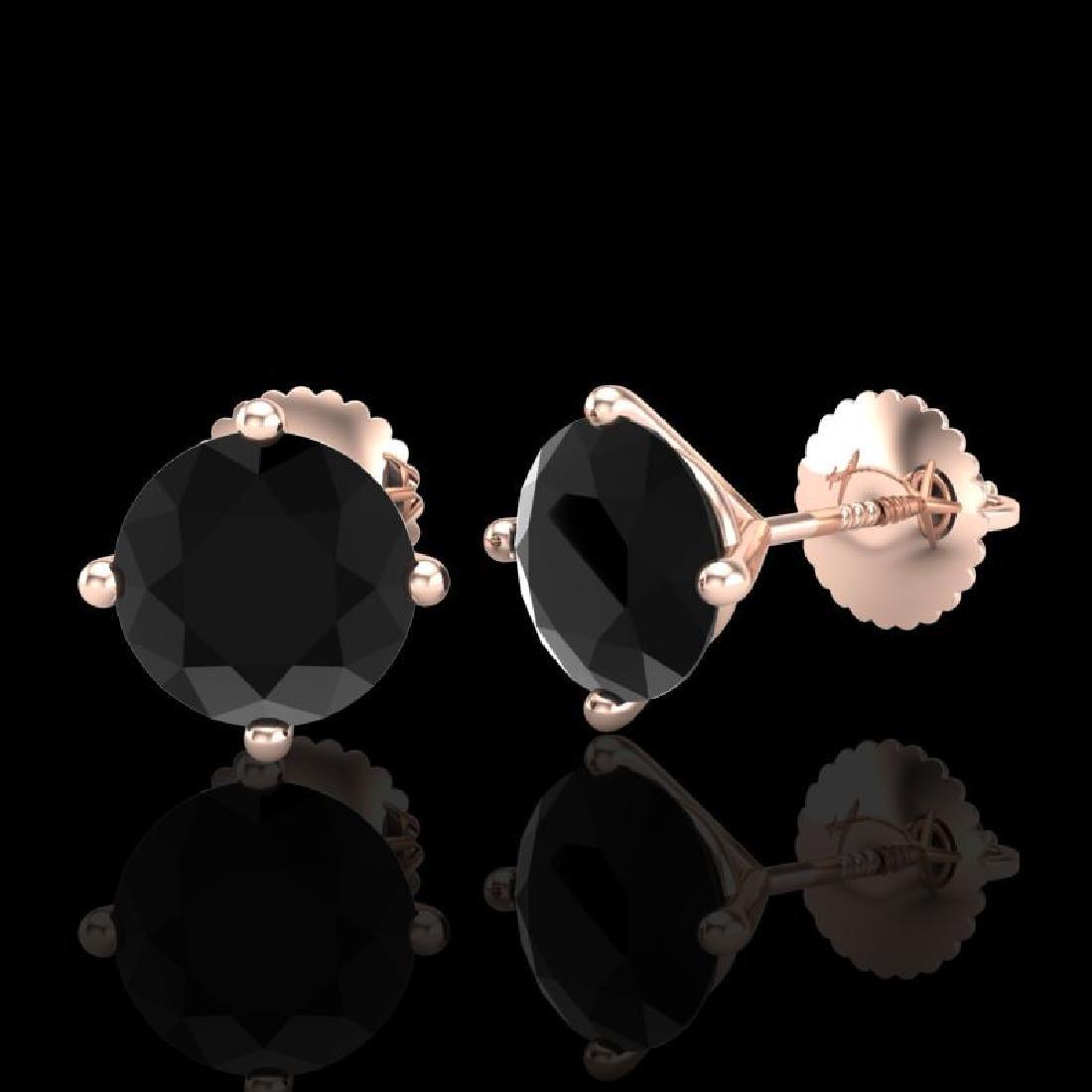 2.5 CTW Fancy Black Diamond Solitaire Art Deco Stud - 2