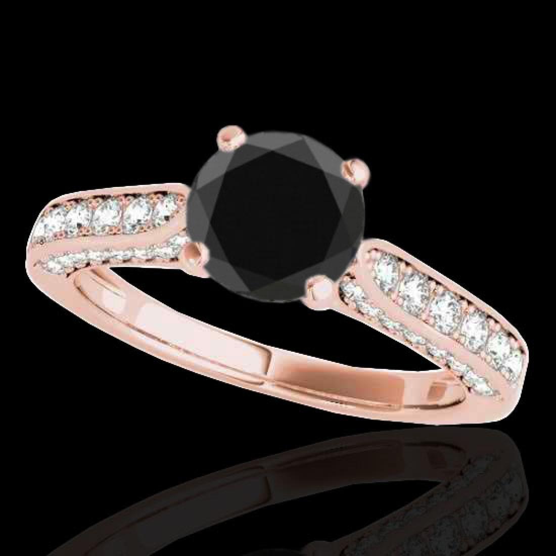 1.6 CTW Certified VS Black Diamond Solitaire Ring 10K